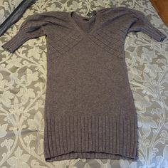 Rare Victorias Secret Moda International Dress Balloon 3/4 sleeve V-neck sweater dress.  Crochet areas are see through.  Mini-midi length.  Used 10+ times but great condition. Moda International Dresses Mini