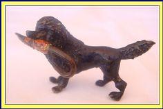 Antique Vienna Bronze Cold Painted Miniature Poodle Dog w Umbrella