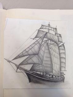 Pencil. Drawing . Ship  Amy Caughey