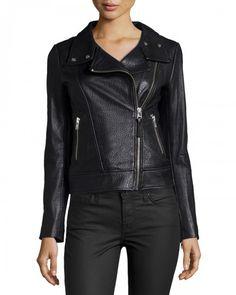 Mackage Embossed Lambskin Leather Moto Jacket Xx Black | Coat, Jacket and Clothing