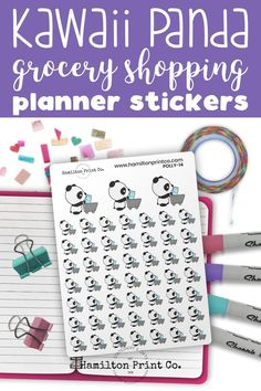 Kawaii Panda goes grocery shopping. Planner stickers to decorate your life planner, hobo weeks or bullet journal. #planner #stickers #ideas #decorating #DIY #happy #life #aesthetic #inspiration #passion #cute #holiday #hobonichi #sticker #kit #bullet #journal #bujo Time Planner, Best Planners, Planner Supplies, Small Shops, Bullet Journals, Erin Condren, Art Market, Journal Inspiration, Sticker Paper
