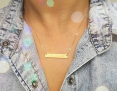 Personalized INITIAL Bar Necklace /  Gold Bar by TatianaKatzoff, $36.00