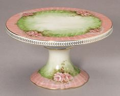 Pastel Green w/ Pink Roses   Cake Plate Stand