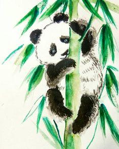 Cute Panda Bear Original Watercolor Ink Painting children friendly, dormitory, kids room Wall Art,