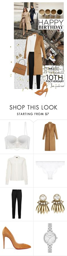 """""""Celebrate Our 10th Polyversary! // BEST TREND: camel coat"""" by ithinkinblack ❤ liked on Polyvore featuring Oris, La Perla, Joseph, Rochas, STELLA McCARTNEY, H&M, Christian Louboutin, Kate Spade and Valentino"""