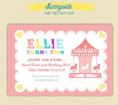 carousel birthday invitation set Invitations make me happy