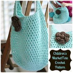 Child's Crochet  Market Tote: free pattern, quick n easy