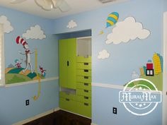 Murals, Dr Seuss Cat in the hat, and lorax Nursery Wall Murals Miami Fort Lauderdale,West Palm Beach South Florida Playroom Mural, Nursery Wall Murals, Playroom Ideas, Baby Boy Nursery Themes, Baby Boy Nurseries, Nursery Ideas, Kids Room Art, Kids Bedroom, Dr Seuss Nursery