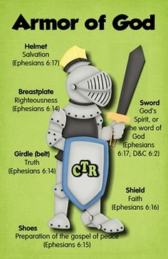 Armor of God Green  Can be used with the lesson at http://missionbibleclass.org/1b0-new-testament/new-testament-part-2/acts-epistle-selections/the-christian-armour/