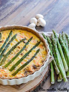 Recette de quiche de saumon et asperge verte dans un garniture aux champignons et au chèvre frais. Une quiche facile et gourmande avec données nutritionnelles.