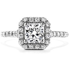 Hearts on Fire Transcend Dream Engagement Ring featuring a Square Diamond Halo Design set in Platinum.