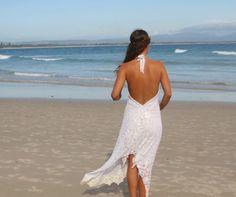Divine Lace Bridal halter dress Bohemian beach by Fairtale