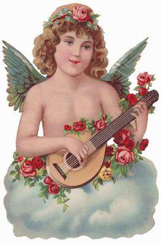Cherub 763px × 1,152px (scaled to 423px × 640px)    Sentimentalia - Victorian Stickers ~ Glansbilleder > Angels ~ Engle