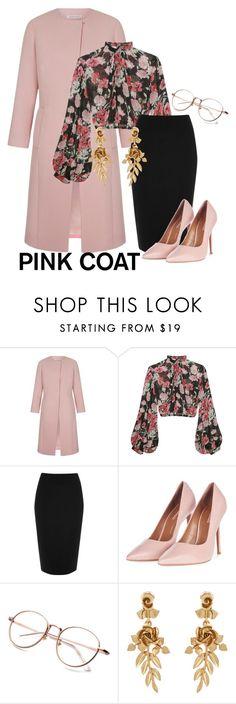 """Pink Coat"" by morinef ❤ liked on Polyvore featuring Jill Stuart, River Island, Topshop and Oscar de la Renta"
