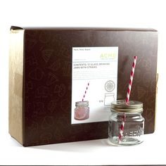 Mason Jar Sippers, Box of 12.  Cute perforated lids make these great for pre-made signature drinks!