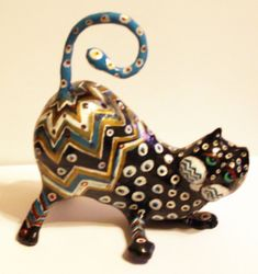 Maxine  Paper Mache Cat Sculpture by GinsLilCharacters on Etsy, $75.00   Ginny Luttrell Topeka, KS, United States