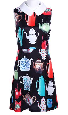 Black Peter Pan Collar Sleeveless Teapot Print Silk Dress  $47.5 Omigod I neeeeeeed thissssss