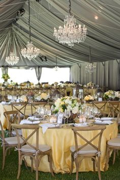 Wedding Reception ~ #silver drapes and #chandeliers via Colin Cowie