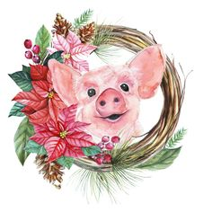 Christmas Rock, Vintage Christmas, Watercolor Animals, Watercolor Art, Art Mignon, Pig Crafts, Pig Drawing, Pig Illustration, Pig Art