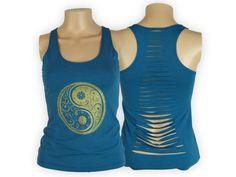 Yin and Yang Cut Back Yoga Tank Top Cut Up Shirt by BuddhiGear