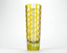 Verre art déco Karel Wunsch style jaune coupe verre vase - vase tchèque avec rayures verre taillé et disques - Bohême