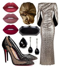 """""""#PolyPresents: Sparkly Beauty"""" by hclive on Polyvore featuring Talbot Runhof, Alex Soldier, Christian Louboutin, Chanel, Lime Crime, contestentry and polyPresents"""