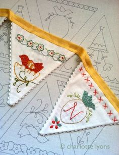 birdie banner - embroidery and stitching sampler