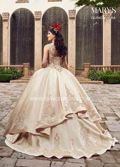 Get the beautiful Embroidered Halter Quinceañera Dress by Mary's Bridal and other amazing Mary's quinceañera dresses and accessories on Mi Padrino. Mary's Bridal, Bridal Style, Barbie Bridal, Ball Gown Dresses, Pageant Dresses, Dressy Dresses, 15 Dresses, Fashion Dresses, Champagne Quinceanera Dresses