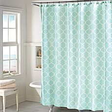 image of Langley Shower Curtain in Mint Bed Bath & Beyond