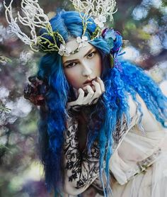 Floral Fantasy Fairy Pixie Fairytale Blue Women Costume Wig with Wreath