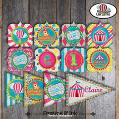 Carnival Party - Circus Party - Complete Collection - Toppers, Banner, Favor Tags & More - Printable - Pink - Blue - Yellow (Girl, Vintage) on Etsy, $39.00