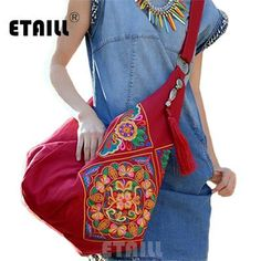 Ethnic Embroidery Bag Boho, Thailand Embroidered Women Messenger Bags, Beautiful Large Bag Accessory, Hip Trend
