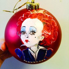 Fabulous hand painted Queen of Hearts 200mm (thats REALLY big) matte red shatterproof ornament As always, personalization with name and year is