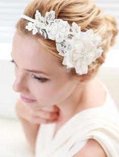 Lace headband bridal headband flower headband wedding by woomeepyo, $40.00