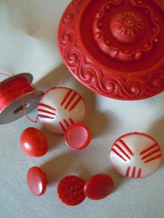 Vintage Red Buttons, via Etsy.