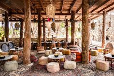 The hotel, Nômade Tulum with rooms that range from beach tents to tree-house like structures. featured in Escape to Tulum from Kim's Table. Pergola, Bar Lounge, Hotel Lounge, Tulum Beach Hotels, Restaurant Bar, Beach Restaurant Design, Cafe Design, House Design, Deco Cafe