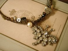 Oooh. I would love to try to make this. Gorgeous repurposed jewels & bits by Riki