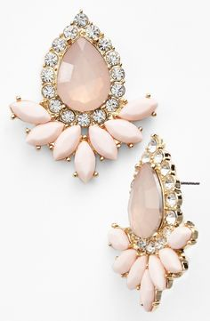 Sparkly pastel pink stone & crystal earrings ✿⊱╮