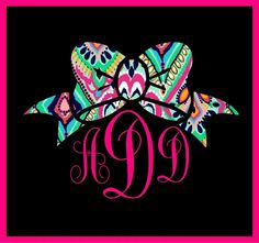 "5"" MONOGRAM CUSTOM PRINT BOW PREPPY GIRLY VINYL DECAL STICKER WALL LAPTOP CAR"