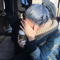 Baby blue denim colored hair - love! Might be the next crazy color for me when that time comes..