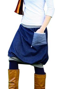 Ballonrock PAULIZ - blauer Damen Ballonrock aus Jeans: Amazon.de: Bekleidung