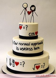 This mathematical love wedding cake is a great idea for the one who associates much with numbers and logic. #Wedding #Cake #WomenTriangle www.womentiangle.com