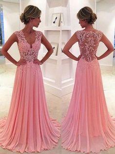 Modest Prom Dress,Classic A-Line V-Neck Floor Length Pink Prom Dress/Evening Dress with Appliques Prom Dresses
