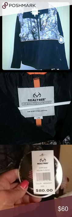 NWT REALTREE CAMO FLEECE JACKET Realtree Black & Camouflage Fleece Jacket could be with by a man or a woman...Its BRAND NEW WITH TAGS!!! Never been worn. Size Large Realtree Jackets & Coats