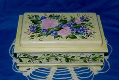 Decorative Tea Box Wood Tea Chest Pink Roses Tea Storage