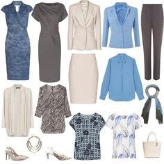Summer business wear capsule wardrobe, see how to tailor it to suit your colouring at http://www.lookingstylish.co.uk/2015/04/30/summer-business-capsule-wardrobe-how-to-tailor-it-to-suit-your-colouring/