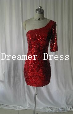 sequin dress evening,Sequins Prom Dress, Short  Prom Dress , One Shoulder Long Sleeves Knee Length Cocktail Dress,Party Dress on Etsy, $98.12 CAD Quinceanera Dresses, Homecoming Dresses, Homecoming 2014, Knee Length Cocktail Dress, Red Cocktail Dress, Prom Looks, Formal Gowns, Sequin Dress, Dress Me Up