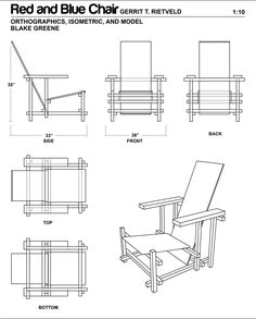 The Red and Blue Chair Scale Model on Behance Beach Furniture, Furniture Making, Art Furniture, Rietveld Chair, Bauhaus Chair, Poltrona Design, Chair Drawing, Industrial Design Sketch, Memphis Design