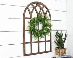 Oversized window* faux window* wood window* farmhouse window* cathedral window* window pane* farmhouse decor