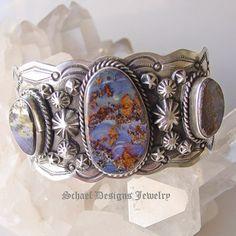 Schaef Designs Boulder Opal & Sterling silver cuff bracelet  | Schaef Designs artisan handcrafted Southwestern, Native American & Equine Jewelry | Online upscale southwestern equine jewelry boutique gallery | San Diego CA